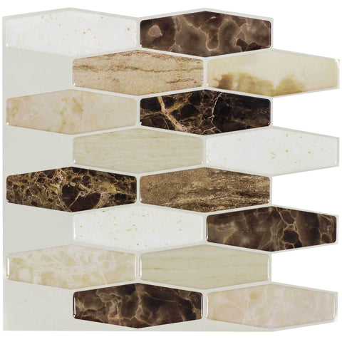 Front Peel N' Stick Contemporary Long Hex Beige Brown Resin Vynil Tile