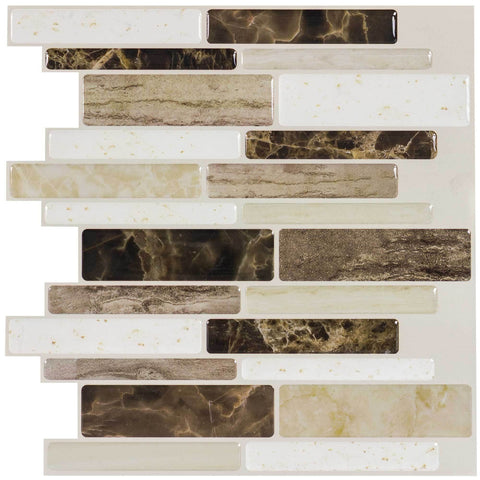 MTO0109 - 5PK Peel and Stick Modern Linear Beige Brown Vinyl Mosaic Tile - Mosaic Tile Outlet