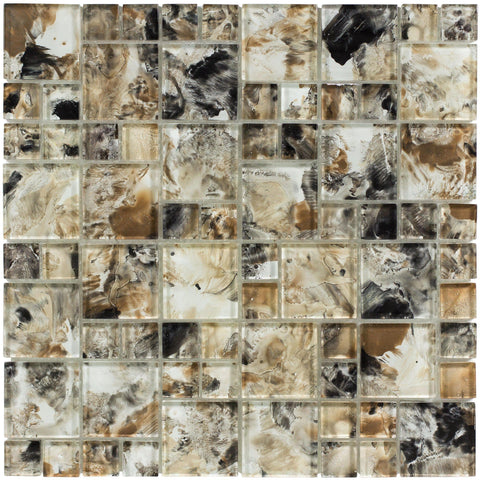 Front Modern French Pattern Brown Glossy Glass Mosaic Tile