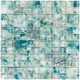 Front Modern French Pattern Turquoise Glossy Glass Mosaic Tile