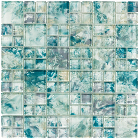 MTO0112 Modular Blue Gray Yellow Turquoise Glossy Translucent Glass Mosaic Tile - Mosaic Tile Outlet