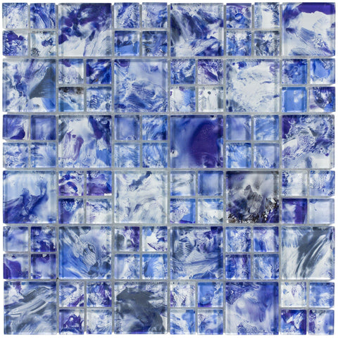 MTO0113 Modern Modular Blue White Glossy Translucent Glass Mosaic Tile - Mosaic Tile Outlet