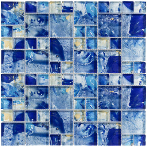 MTO0114 Modular White Yellow Cobalt Blue Glossy Translucent Glass Mosaic Tile - Mosaic Tile Outlet