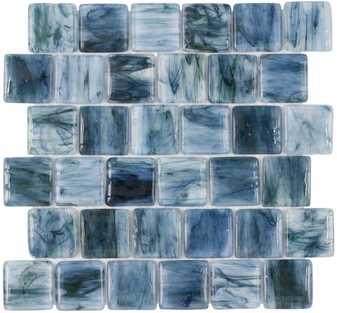MTO0115 Pillowed 2X2 Squares Blue Black Green Glossy Translucent Glass Mosaic Tile - Mosaic Tile Outlet