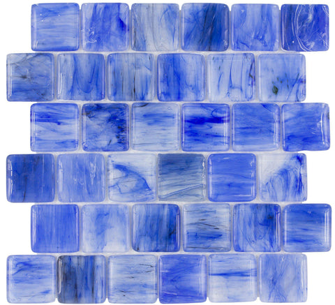 MTO0116 Modern 2X2 Pillowed Squares Light Blue Glossy Translucent Glass Mosaic Tile - Mosaic Tile Outlet