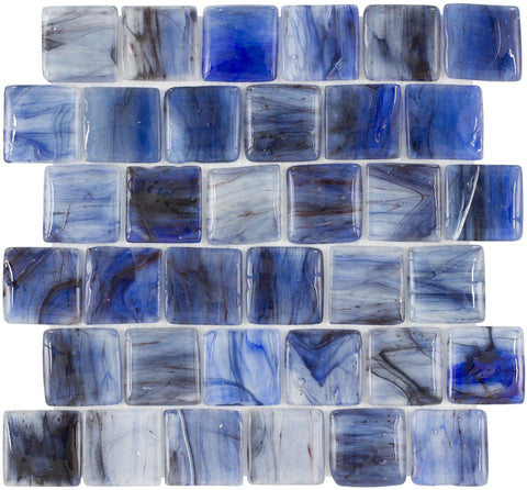 MTO0117 Modern 2X2 Pillowed Squares Blue Black Glossy Translucent Glass Mosaic Tile - Mosaic Tile Outlet