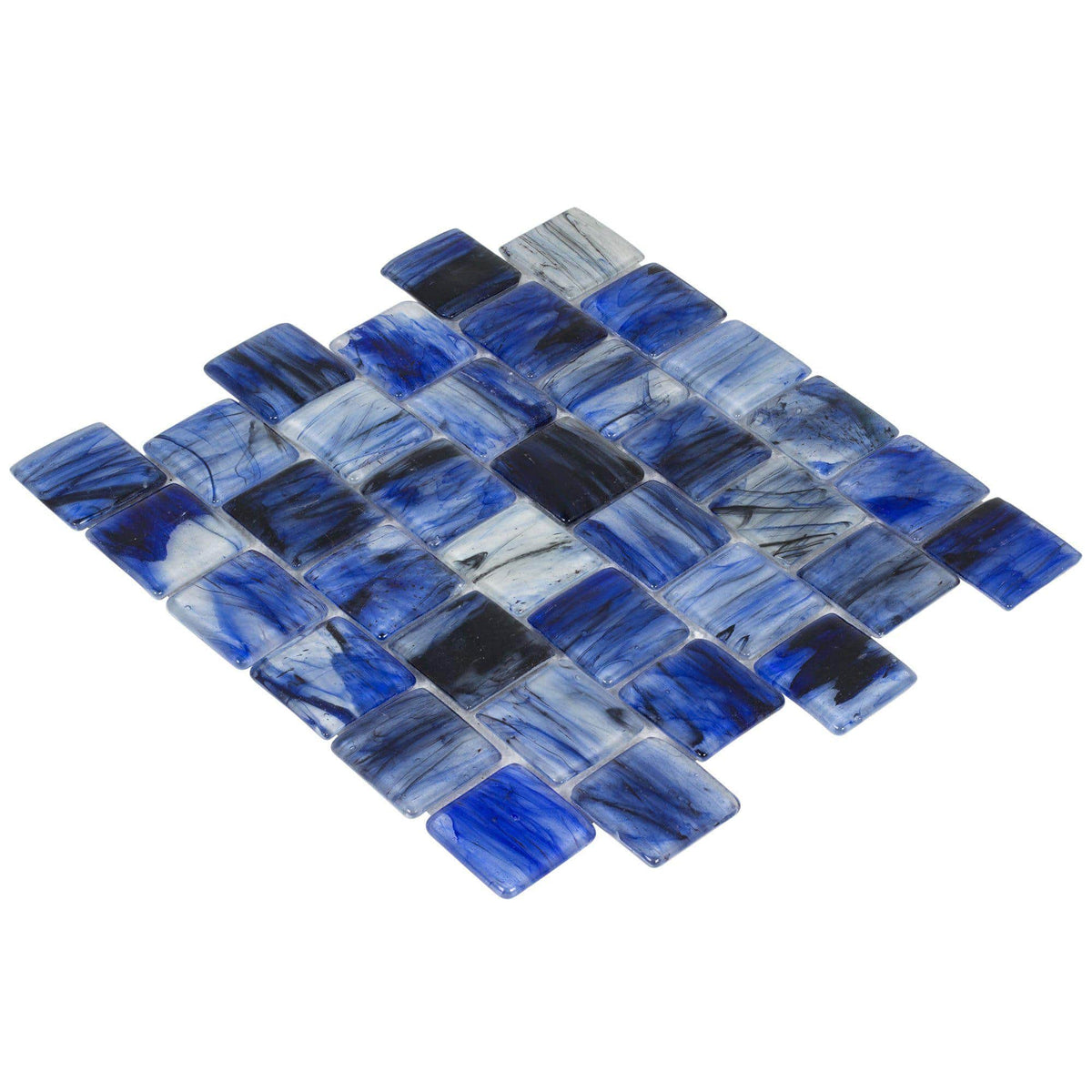 Mto0117 2x2 Pillowed Squares Blue Black Glossy Translucent