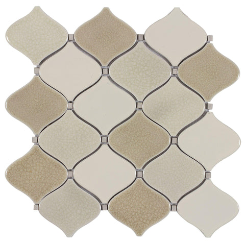 MTO0118 Modern Arabesque Beige White Glazed Porcelain Mosaic Tile - Mosaic Tile Outlet