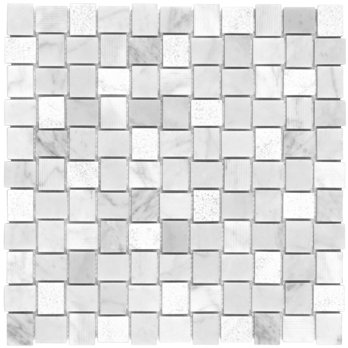 Mto0119 Basket Weave White Gray Matte Etched Marble Mosaic