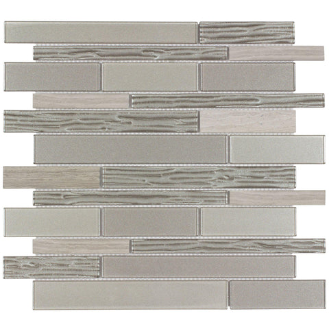 Front Modern Linear Gray Green Glossy Matte Glass Metal Mosaic Tile