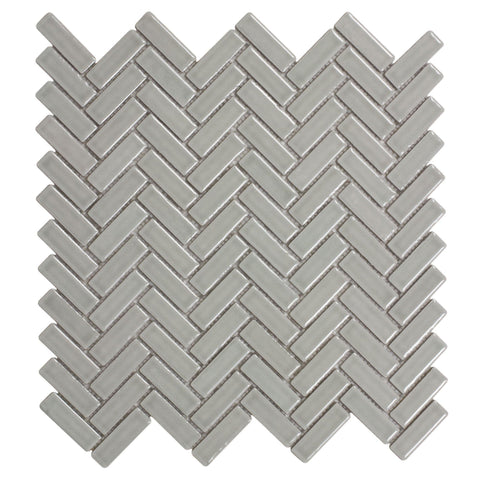 MTO0122 Classic Herringbone Beige Grey Glossy Porcelain Mosaic Tile - Mosaic Tile Outlet
