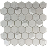 Front Modern Hexagon Gray Glossy Glass Mosaic Tile