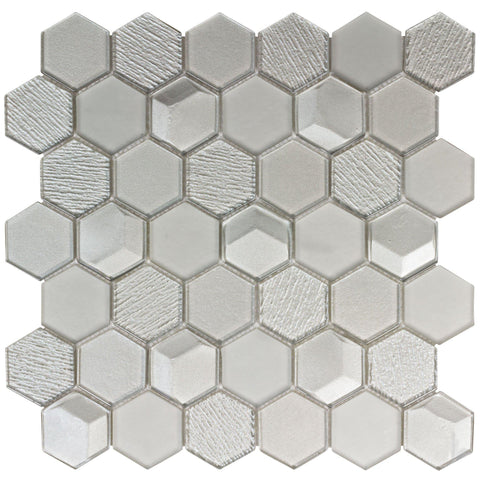 MTO0123 Modern 2X2 Hexagon Gray Metallic Glossy Translucent Glass Mosaic Tile - Mosaic Tile Outlet