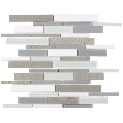 Front Contemporary Linear White Gray Glossy Matte Glass Metal Mosaic Tile