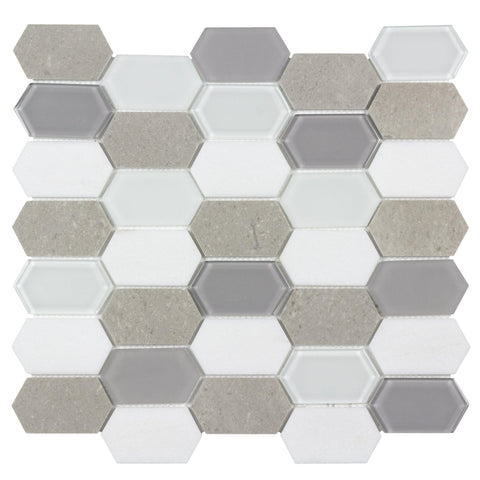 Front Contemporary Long Hex White Gray Glossy Matte Glass Metal Mosaic Tile