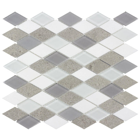 Front Contemporary Diamond White Gray Glossy Matte Glass Metal Mosaic Tile