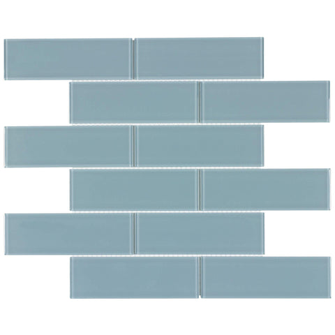 MTO0131 Classic 2X6 Subway Blue Glossy Glass Mosaic Tile - Mosaic Tile Outlet
