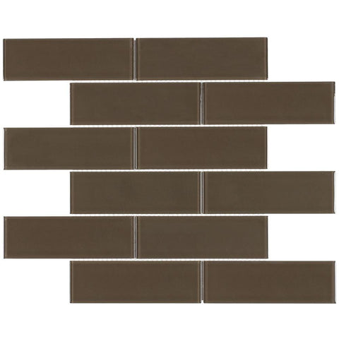MTO0133 Modern 2X6 Subway Brown Glossy Glass Mosaic Tile - Mosaic Tile Outlet