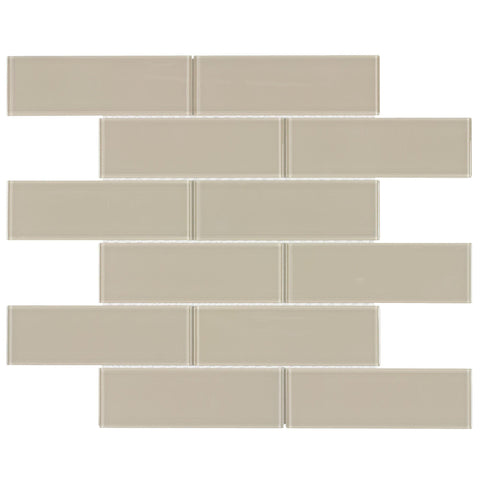 Front Contemporary Subway Beige Sand Glossy Glass Mosaic Tile