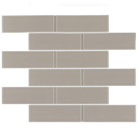 Front Contemporary Subway Taupe Glossy Glass Mosaic Tile