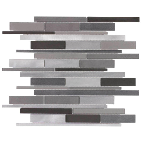 MTO0141 Modern Linear Gray Glossy Glass Metal Mosaic Tile - Mosaic Tile Outlet