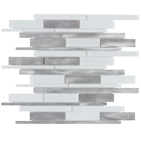 Front Modern Linear White Gray Glossy Glass Metal Mosaic Tile