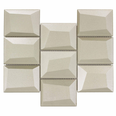 MTO0143 Faceted 3X4 Beveled Rectangle Beige Glossy Metallic Glass Mosaic Tile - Mosaic Tile Outlet