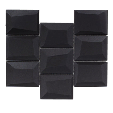 MTO0144 Faceted 3X4 Beveled Rectangle Black Glossy Metallic Glass Mosaic Tile - Mosaic Tile Outlet