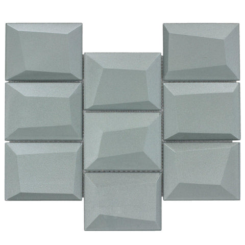 MTO0146 Faceted 3X4 Beveled Rectangle Gray Glossy Metallic Glass Mosaic Tile - Mosaic Tile Outlet