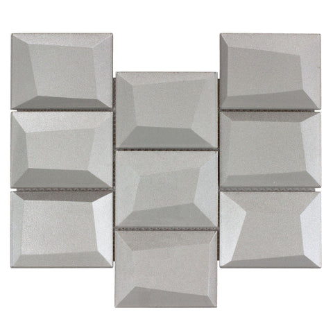 MTO0147 Faceted 3X4 Beveled Rectangle Gray Glossy Metallic Glass Mosaic Tile - Mosaic Tile Outlet