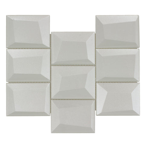MTO0148 Faceted 3X4 Beveled Rectangle White Glossy Metallic Glass Mosaic Tile - Mosaic Tile Outlet