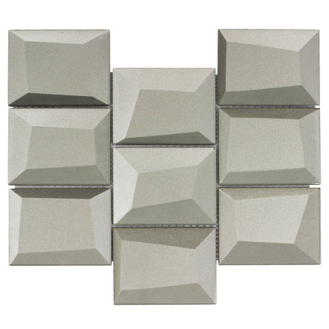 MTO0149 Faceted 3X4 Beveled Rectangle Gray Glossy Metallic Glass Mosaic Tile - Mosaic Tile Outlet