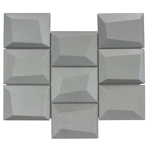 MTO0150 Faceted 3X4 Beveled Rectangle Gray Glossy Metallic Glass Mosaic Tile - Mosaic Tile Outlet