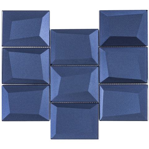 MTO0152 Faceted 3X4 Beveled Rectangle Blue Glossy Metallic Glass Mosaic Tile - Mosaic Tile Outlet