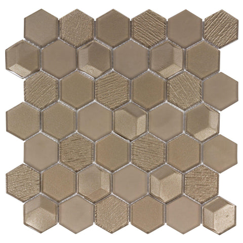 MTO0153 Modern 2X2 Faceted Beveled Hexagon Gold Glossy Metallic Glass Mosaic Tile - Mosaic Tile Outlet