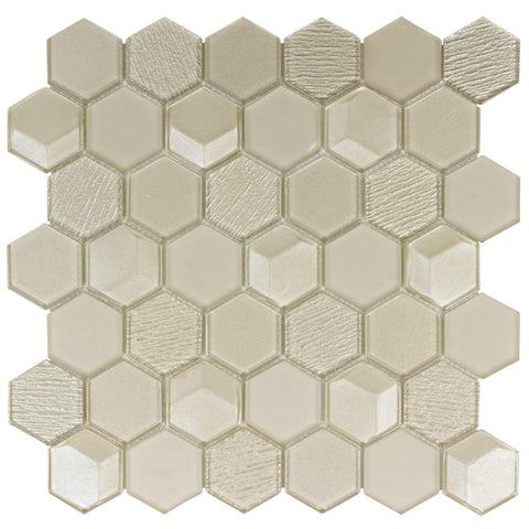 MTO0154 Modern 2X2 Faceted Beveled Hexagon Beige Glossy Metallic Glass Mosaic Tile - Mosaic Tile Outlet