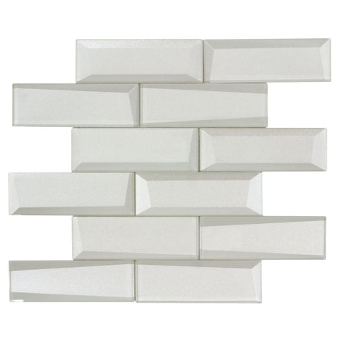 MTO0155 Modern 2X6 Faceted Beveled Subway White Glossy Metallic Glass Mosaic Tile - Mosaic Tile Outlet