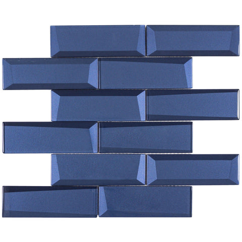MTO0156 Modern 2X6 Faceted Beveled Subway Blue Glossy Metallic Glass Mosaic Tile - Mosaic Tile Outlet