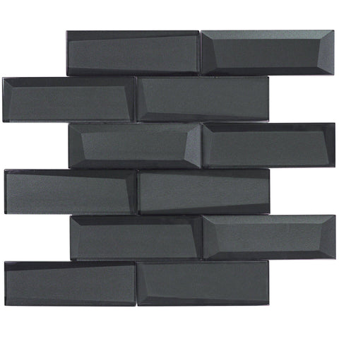MTO0157 Modern 2X6 Faceted Beveled Subway Black Glossy Metallic Glass Mosaic Tile - Mosaic Tile Outlet