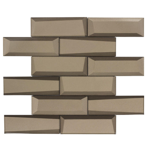 MTO0158 Modern Faceted Beveled Subway Brown Glossy Metallic Glass Mosaic Tile - Mosaic Tile Outlet