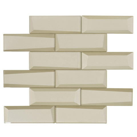MTO0159 Modern 2X6 Faceted Beveled Subway Beige Glossy Metallic Glass Mosaic Tile - Mosaic Tile Outlet