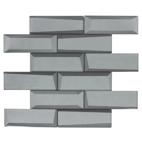 MTO0160 Modern 2X6 Faceted Beveled Subway Gray Glossy Metallic Glass Mosaic Tile - Mosaic Tile Outlet