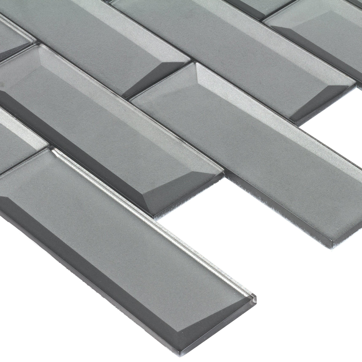 Gray 2x6 Subway Mosaic Metallic Beveled Glass Tiles Mto0160