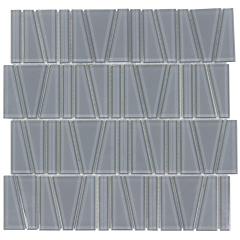 MTO0161 Modern Trapezoid Grey Glossy Glass Mosaic Tile - Mosaic Tile Outlet