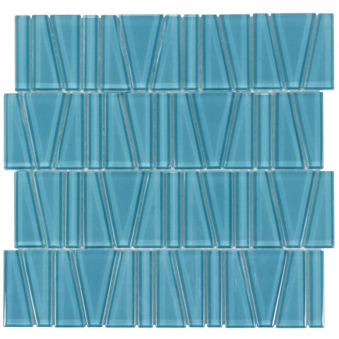 MTO0162 Modern Trapezoid Turquoise Glossy Glass Mosaic Tile - Mosaic Tile Outlet