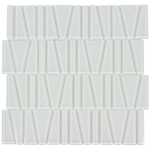 MTO0163 Modern Trapezoid White Beige Glossy Glass Mosaic Tile - Mosaic Tile Outlet