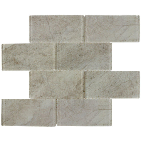MTO0164 Classic 3X6 Pillowed Brick Gray Glossy Glass Mosaic Tile - Mosaic Tile Outlet