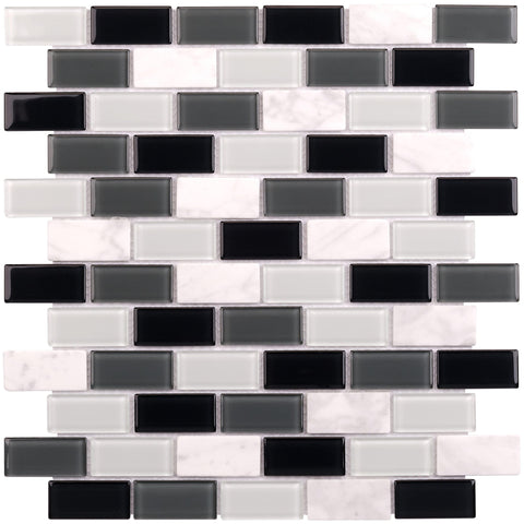 MTO0165 Pillowed 1X2 Squares Black Gray White Glossy Matte Glass Stone Mosaic Tile - Mosaic Tile Outlet