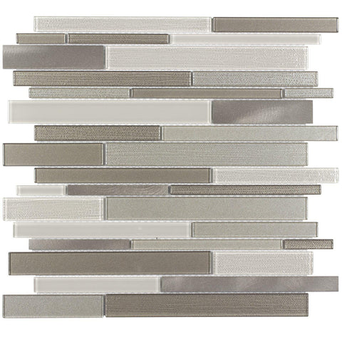 Front Contemporary Linear Beige Glossy Glass Metal Mosaic Tile
