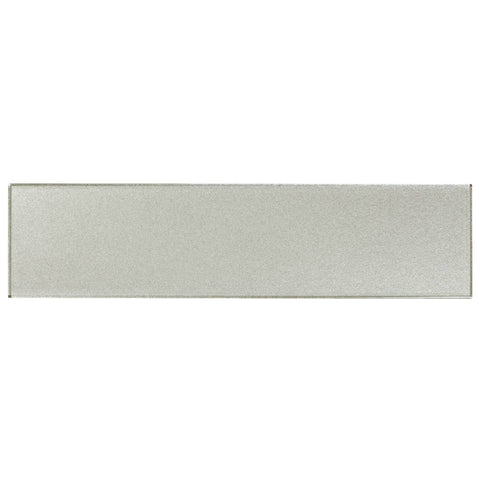 MTO0169 Classic 3X12 Subway Gray Silver Metallic Glossy Glass Tile - Mosaic Tile Outlet